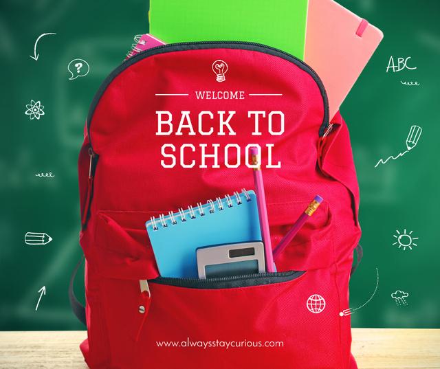 Back to School stationary in backpack Facebook Tasarım Şablonu