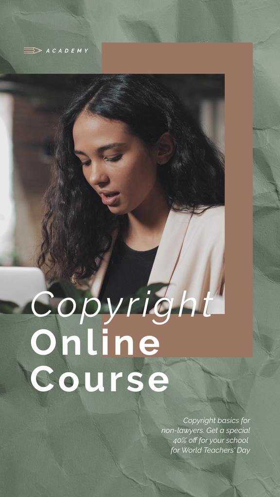 Online Courses Ad Woman Typing on Laptop | Vertical Video Template — Create a Design