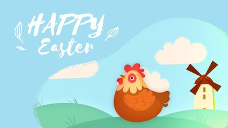 Hen laying Easter egg Full HD video Design Template