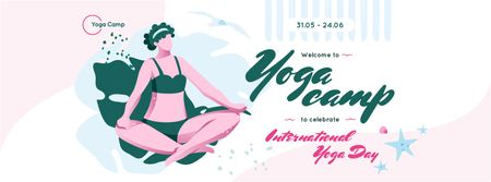 Woman practicing yoga in Yoga Day Facebook coverデザインテンプレート