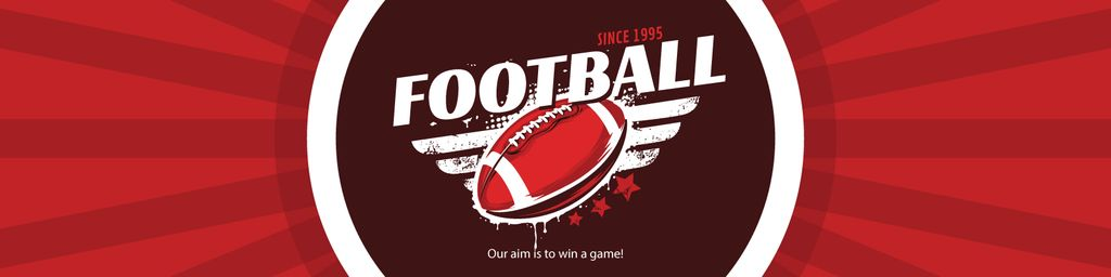 Football Event Announcement with Ball in Red — Create a Design