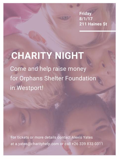 Happy kids in circle on Charity Night Poster US – шаблон для дизайна