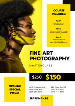 Photography Masterclass Promotion Woman with Creative Makeup in Yellow | Poster Template