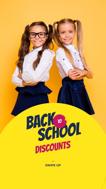 Szablon projektu Back to School Offer Schoolgirls in Uniform Instagram Story