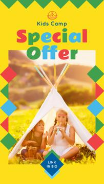 Summer Camp Invitation with Kids in Tent for Story in Yellow