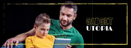 Ontwerpsjabloon van Facebook cover van Parenting Tips Father with Son Using Tablet