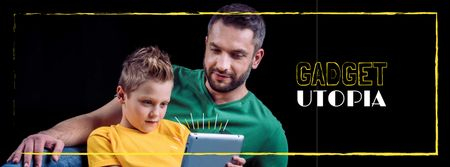 Parenting Tips Father with Son Using Tablet Facebook cover Modelo de Design