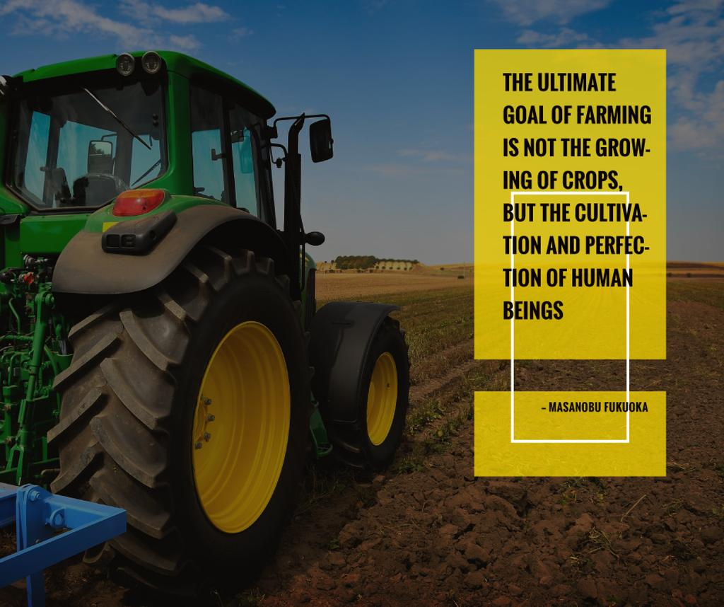 Tractor on agro field with inspirational quote — Создать дизайн