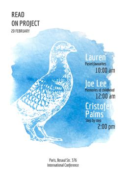 Painters conference announcement with Bird in blue