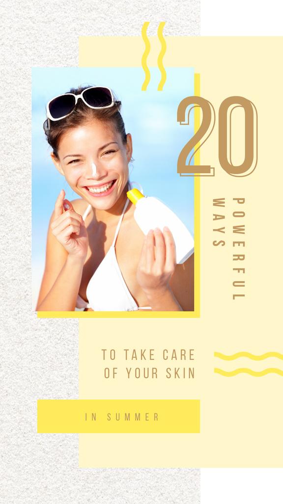 Woman applying sunscreen — Создать дизайн
