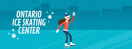 Ontwerpsjabloon van Facebook Video cover van Woman skating on ice