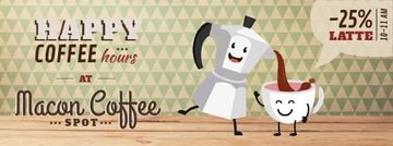 Coffee Shop Promotion Moka Pot and Cup | Facebook Video Cover Template