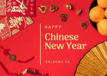 Chinese New Year Greeting Asian Symbols | Postcard Template