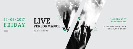Ontwerpsjabloon van Facebook cover van Live performance Annoucement