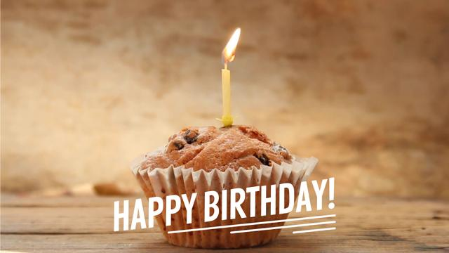 Birthday candle on muffin Full HD video Modelo de Design