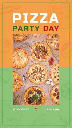 Modèle de visuel Different Pizzas on the table on Pizza Party Day - Instagram Story