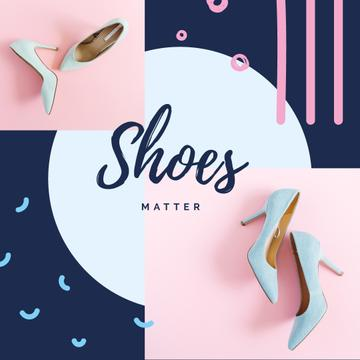 Female Fashionable Shoes in Blue | Instagram Ad Template