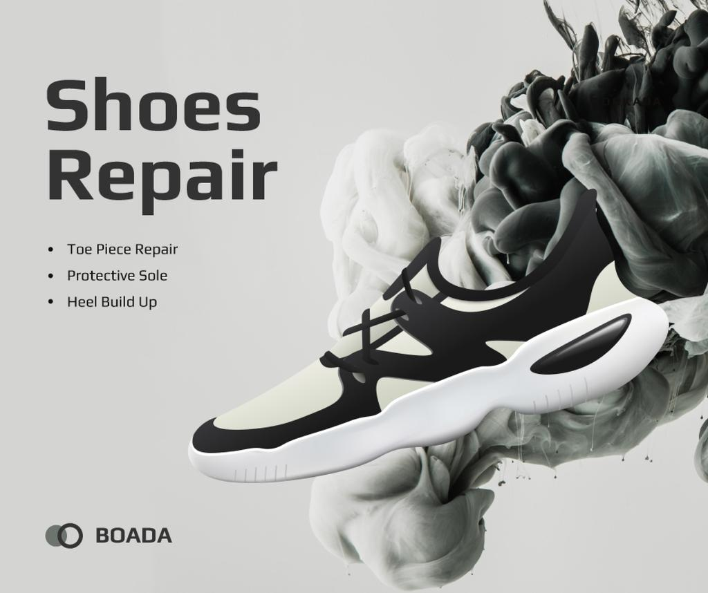 Sneaker Cleaning Service Ad in Black and White Facebook Modelo de Design