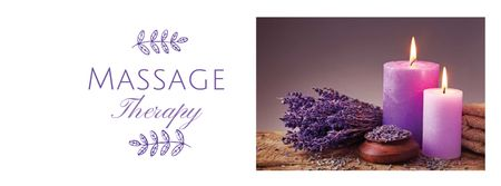 Massage Therapy Services with Purple Candles Facebook cover – шаблон для дизайна