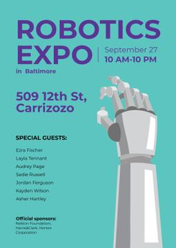 Robotics Expo Annoucement with Robot Hand in Blue