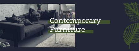 Plantilla de diseño de Contemporary Furniture Offer with Modern Room Interior Facebook cover