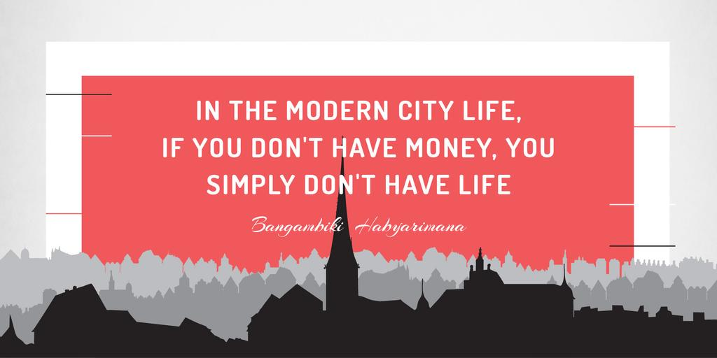 Citation about money in modern city life — Crea un design