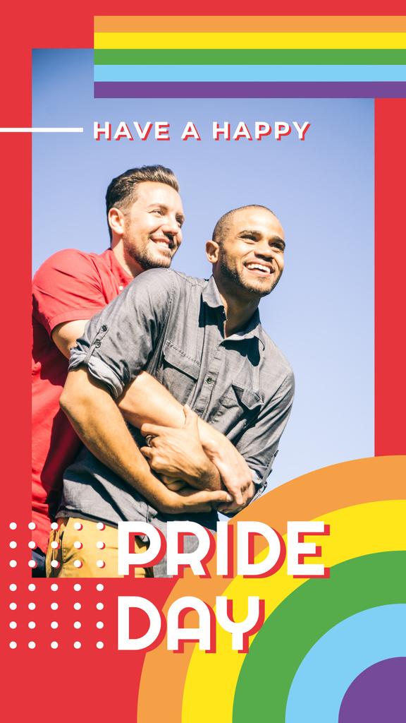 Two men hugging on Pride Day — Modelo de projeto