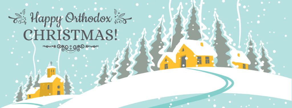 Orthodox Christmas Greeting with snow town — Modelo de projeto
