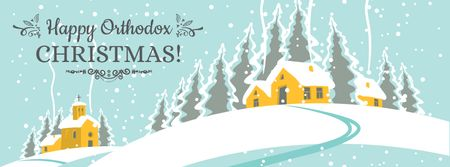 Orthodox Christmas Greeting with snow town Facebook cover Modelo de Design