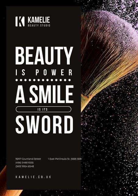 Plantilla de diseño de Beauty Quote with Brush and Face Powder Poster
