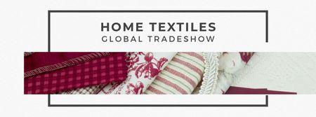 Home Textiles Event Announcement in Red Facebook cover Modelo de Design