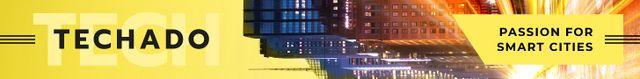 Smart City Concept Night Traffic Lights Leaderboard – шаблон для дизайну