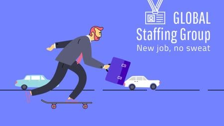 Staffing Agency Ad Businessman Riding Skateboard to Work Full HD video Design Template