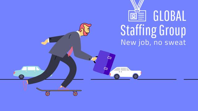 Staffing Agency Ad Businessman Riding Skateboard to Work Full HD video Tasarım Şablonu