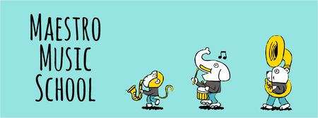 Ontwerpsjabloon van Facebook Video cover van Animals playing musical instruments