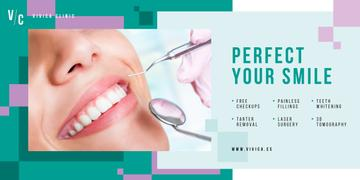 Dental Clinic Offer Woman Smiling at Checkup | Blog Image Template