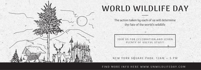World Wildlife Day Event Announcement Nature Drawing Tumblr – шаблон для дизайну