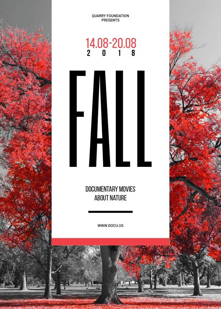 Film Festival Invitation with Autumn Red Tree — Create a Design
