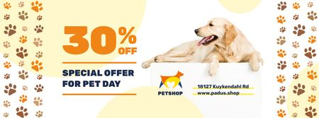 Plantilla de diseño de Pet Day Offer with Golden Retriever and Paws Icons Facebook cover