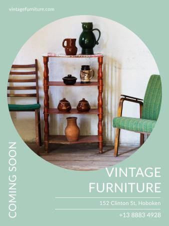 Vintage Furniture Shop Ad Antique Cupboard Poster US – шаблон для дизайну