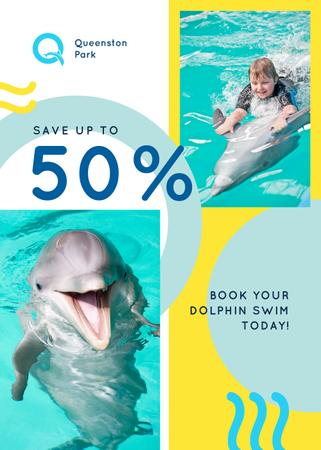 Dolphin Swim Offer Kid in Pool Flayer Tasarım Şablonu
