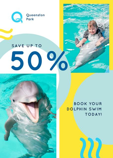 Dolphin Swim Offer Kid in Pool Flayer Modelo de Design