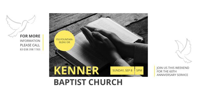 Template di design Baptist Church Invitation with Prayer Twitter