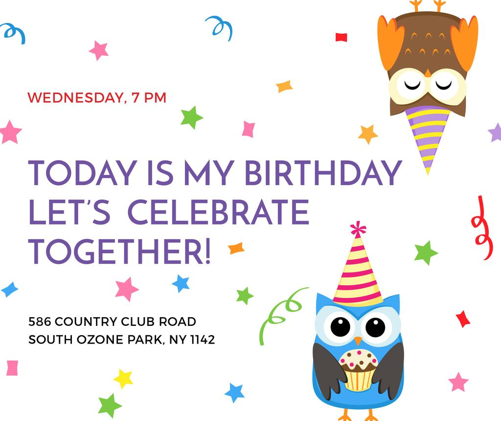 Birthday Invitation with Party Owls Facebook Design Template