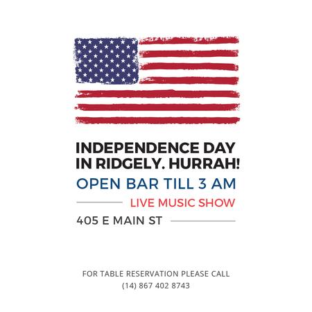 Ontwerpsjabloon van Instagram AD van Independence Day Invitation USA Flag on White