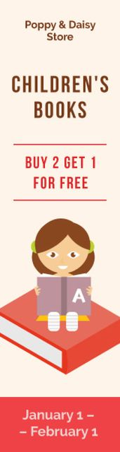 Bookstore Offer Little Girl Reading Skyscraper Design Template