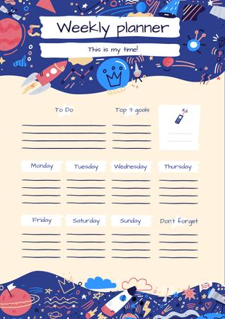 Bright Weekly Planner with Cosmic Drawings Schedule Planner Tasarım Şablonu