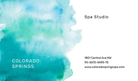 Watercolor Paint Blots in Blue Business card Modelo de Design