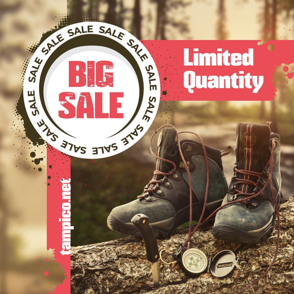 Hiking Gear Offer Boots in Wood | Instagram Post Template — Créer un visuel