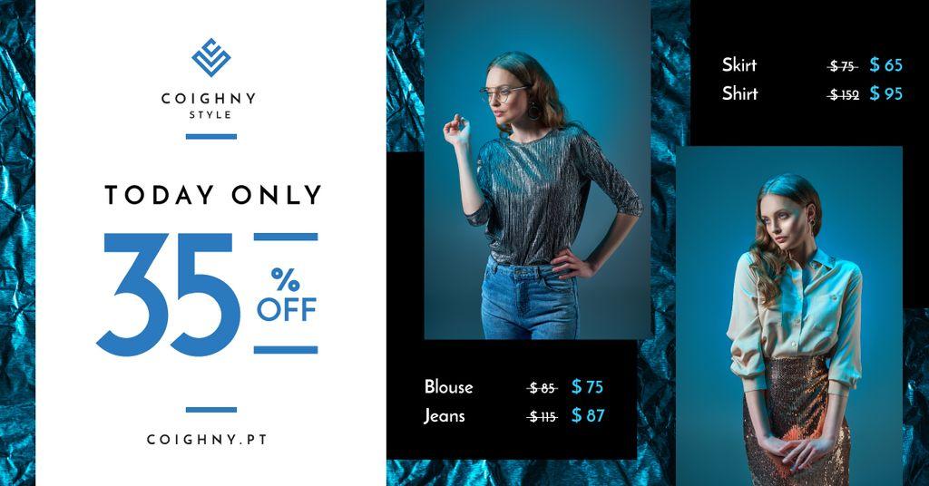 Fashion Sale Stylish Woman in Blue — Crea un design